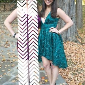 Green Sequined High-Low Dress